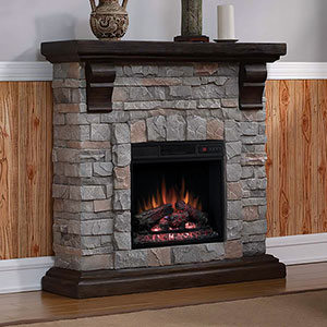 Denali Stone Electric Fireplace Mantel Package in Brushed Dark Pine - 18WM10400-I601