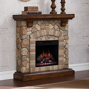 Tequesta Stone Electric Fireplace Mantel Package in Old World Brown - 18WM40070-C296