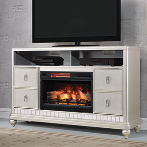 Diva Electric Fireplace TV Stand in Platinum Silver