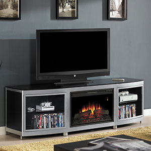Gotham Electric Fireplace Media Console in Black - 26MM9313-D974