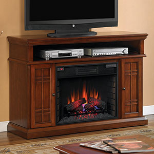 Carmel 55 inch TV Media Infrared Electric Fireplace in Pecan Cherry - 28MM764-C253