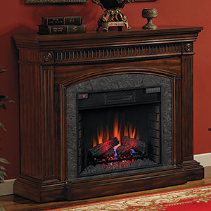 Saranac 54 inch Infrared Electric Fireplace Mantel Package in Roasted Cherry - 28WM1127-C256