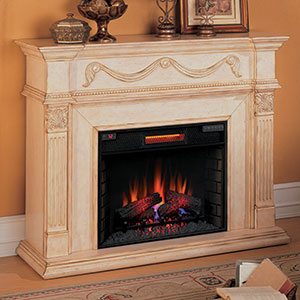 Gossamer 55 inch Infrared Electric Fireplace Mantel Package in Antique Ivory - 28WM184-T408