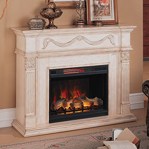 Gossamer Infrared Electric Fireplace Mantel Package in Antique Ivory - 28WM184-T408