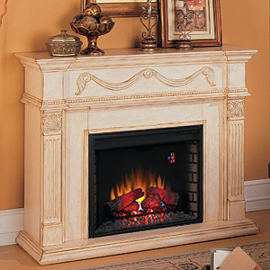 "Gossamer 28"" Antique Ivory Electric Fireplace Mantel - 28WM184-T408"