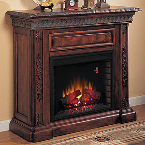 "San Marco 28"" Electric Fireplace Mantel in Antique Walnut - 28WM671-W501"