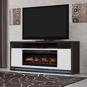 Bal Harbour Infrared Electric Fireplace Entertainment Center in White/ Black Walnut - 42MM8496-PW07