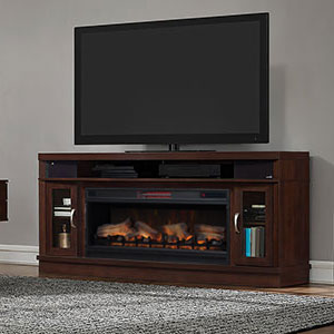 Deerfield Electric Fireplace Entertainment Center in Antique Brown Cherry - 42MMS90151-PC84