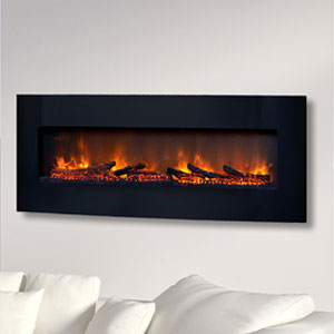 ClassicFlame 48-In Curved Black Wall Mount Electric Fireplace - 48HF201CGT