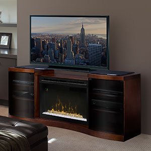 Acton Walnut Multi-Fire XD Electric Fireplace Entertainment Center w/Glass Embers - GDS33HG-1246WAL