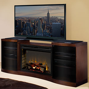 Acton Walnut Multi-Fire XD Electric Fireplace Entertainment Center w/ Logs - GDS33HL-1246WAL