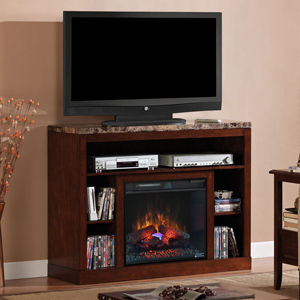 "Adams 23"" Empire Cherry Media Console Electric Fireplace Cabinet Mantel Package - 23MM1824-C244"