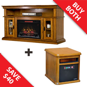 Brookfield Infrared Media Console & Bristol Infrared Heater Combo - 26MM2209-O107-9HM9126-O142