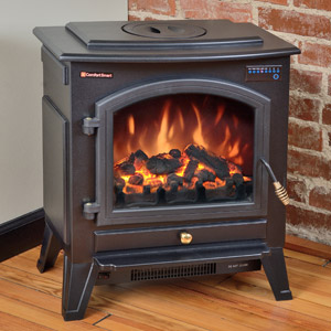 Comfort Smart Vermont Black Electric Fireplace Stove with Remote Control - CFS-26-BLK