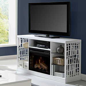 Charlotte Electric Fireplace TV Stand in White
