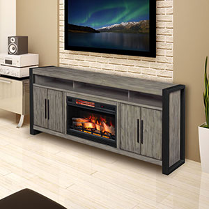 Costa Mesa 72-In Electric Fireplace Entertainment Center in Spanish Grey