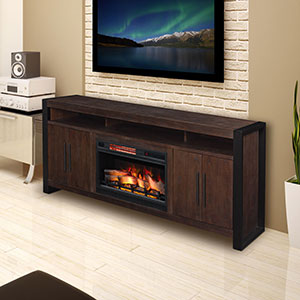 Costa Mesa 72-In Electric Fireplace Entertainment Center in Antique Coffee