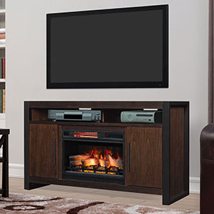Costa Mesa 59-In Electric Fireplace TV Stand in Antique Coffee