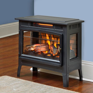 Duraflame 3D Black Infrared Electric Fireplace Stove with Remote Control - DFI-5010-01