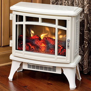 Duraflame 8511 Cream Infrared Electric Fireplace Stove with Remote Control - DFI-8511-04