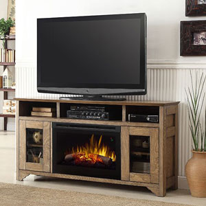 Walker Electric Fireplace Media Console in Grey Oak - DFP25L5-1526GO