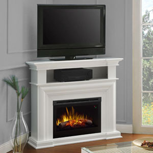 Colleen Wall or Corner Electric Fireplace Media Console in White - DFP25L5-1537W