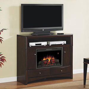 Delray Electric Fireplace Media Console in Roasted Walnut - 26DE9401-W509