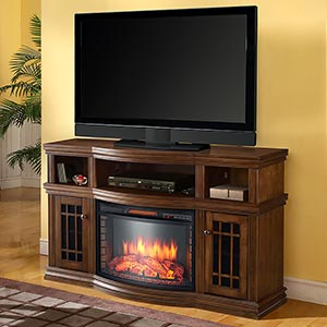 Dwyer Electric Fireplace Entertainment Center in Burnished Pecan - MTVSC2513SBP