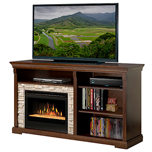 Edgewood Espresso Electric Fireplace Entertainment Center with Glass Embers - GDS25G-1269E