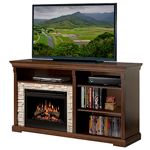 Edgewood Espresso Electric Fireplace Entertainment Center with Logs - GDS25-1269E