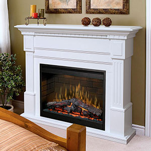 Essex Electric Fireplace Mantel Package in White - GDS30-1086W