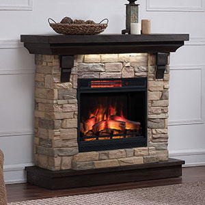 Eugene Infrared Electric Fireplace Mantel Package in Aged Coffee - 23WM8909-I612