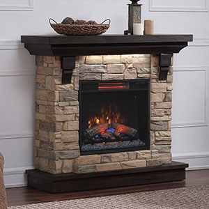Eugene Electric Fireplace Mantel Package in Aged Coffee - 23WM8909-I612