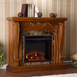 Cardona Electric Fireplace Mantel Package in Walnut - FE9664