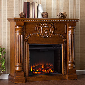 Romano Electric Fireplace Mantel Package in Antique Oak - FE9673