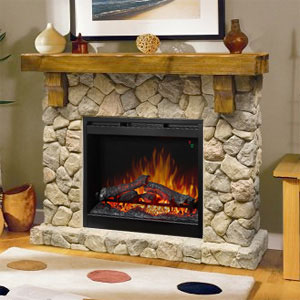 Fieldstone Rustic Electric Fireplace Mantel Package - GDS26L5-904ST