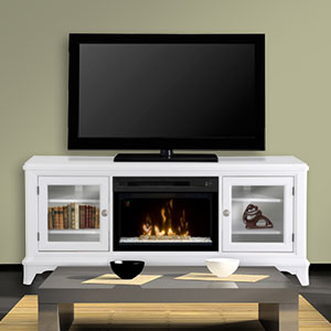 Winterstein Electric Fireplace Media Console w/ Glass in White - GDS25GD-1413WW