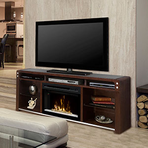 Galloway Electric Fireplace Media Console w/ Glass in Java - GDS25GD-1434JA