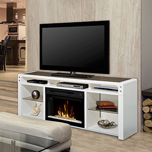 Galloway Electric Fireplace Media Console w/ Glass in White - GDS25GD-1434W