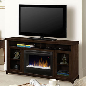 Dupont Electric Fireplace Media Console w/ Glass in Dark Brown - GDS25G5-1491KN