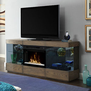 Axel Electric Fireplace Media Console w/Glass in Raked Sand - GDS25GD-1583RS