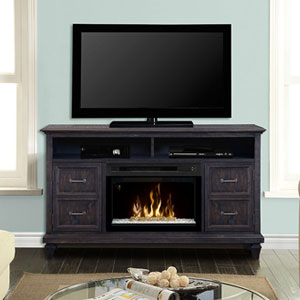 Solomon Electric Fireplace Media Console w/ Glass in Weathered Grey - GDS25GD-1594WG