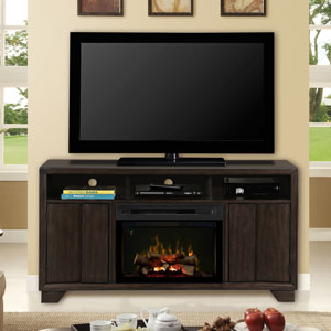 Bayne Electric Fireplace Media Console w/Logs in Graphite - GDS25LD-1411BYG