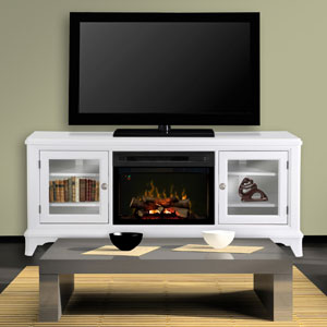 Winterstein Electric Fireplace Media Console w/Logs in White - GDS25LD-1413WW