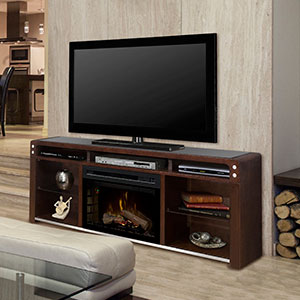 Galloway Electric Fireplace Media Console w/Logs in Java - GDS25LD-1434JA