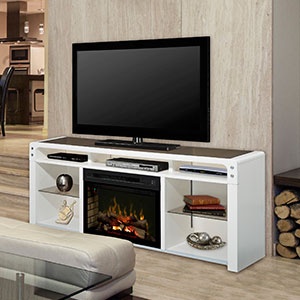 Galloway Electric Fireplace Media Console w/Logs in White - GDS25LD-1434W