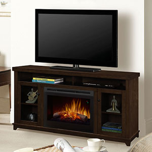 Dupont Electric Fireplace Media Console w/ Logs in Dark Brown - GDS25L5-1491KN