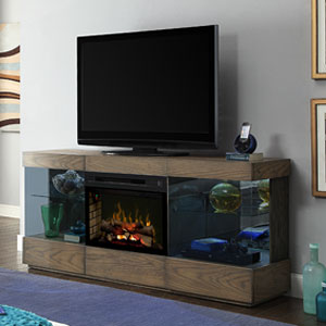 Axel Electric Fireplace Media Console w/Logs in Raked Sand - GDS25LD-1583RS