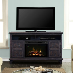 Solomon Electric Fireplace Media Console w/ Logs in Weathered Grey - GDS25LD-1594WG