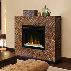 Harris Electric Fireplace Mantel w/ Glass in Natural Acacia - GDS33G4-1557CS